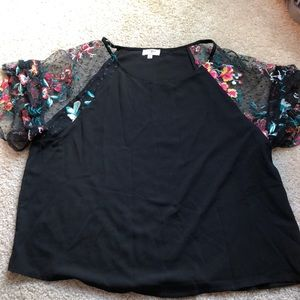 Tops - New! Floral lace sleeve blouse - Large